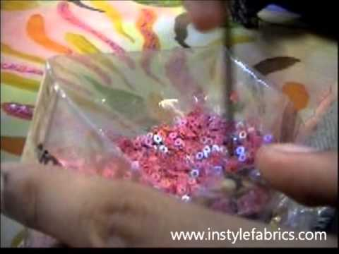Making Hand Beaded Fabrics For Haute Couture Garments.