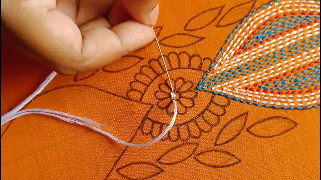 Download Most Strange Hand Embroidery Stitch for Beginners, Phulkari Borderline Design for Dress