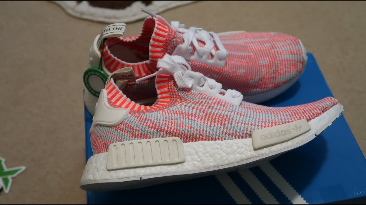 3a6a410297793 Adidas NMD R1 PK  Shrimp  Glitch Camo Sneaker Unboxing - YouTube