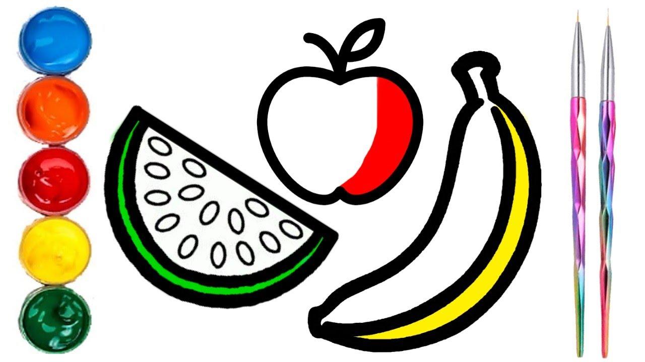 Como Dibujar Y Pintar Frutas Dibujos Fáciles Para Niños Y Niñas