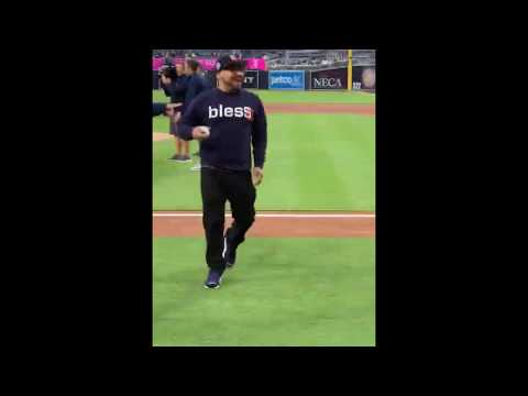 Beto - Beto Perez Throwing First Pitch at San Diego Padres Game