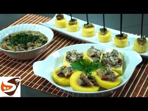 Polenta fritta:  croccante con funghi porcini - antipasti sfiziosi (fried polenta with mushrooms)
