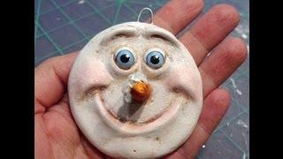 Paperclay Snowman ornament tutorial by Tamara Dozier