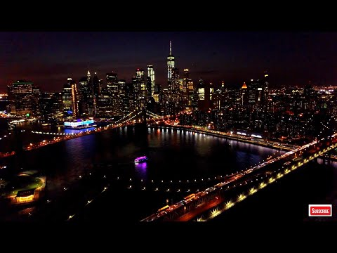 New York City Skyline At Night HD 4K Wallpaper - Screensaver Edition - Aerial Landscapes