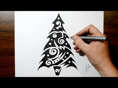 Christmas Tree Tattoo Designs.How To Draw A Christmas Tree Tribal Tattoo Design Style