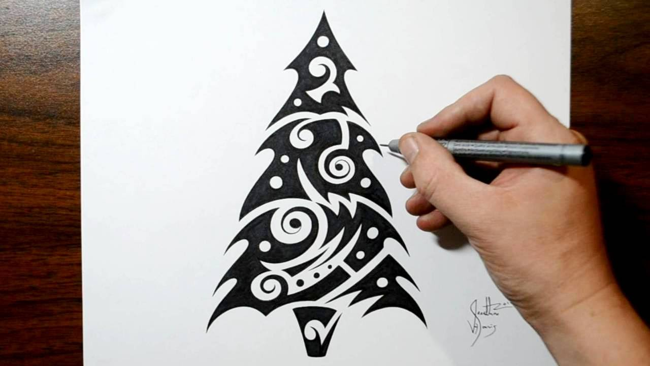 How to Draw a Christmas Tree - Tribal Tattoo Design Style ...