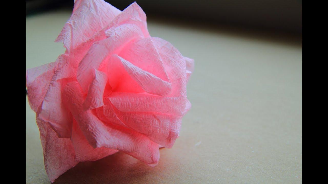 Как сделать из салфетки розу видео