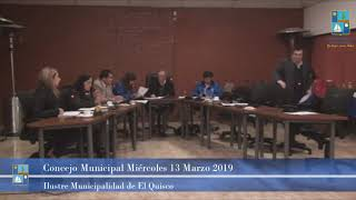Concejo Municipal Miércoles 13 de Marzo 2019 - El Quisco