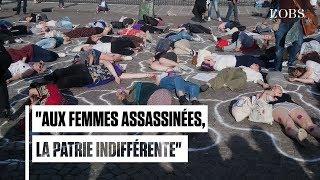 Manifestation contre les féminicides devant le Panthéon à Paris