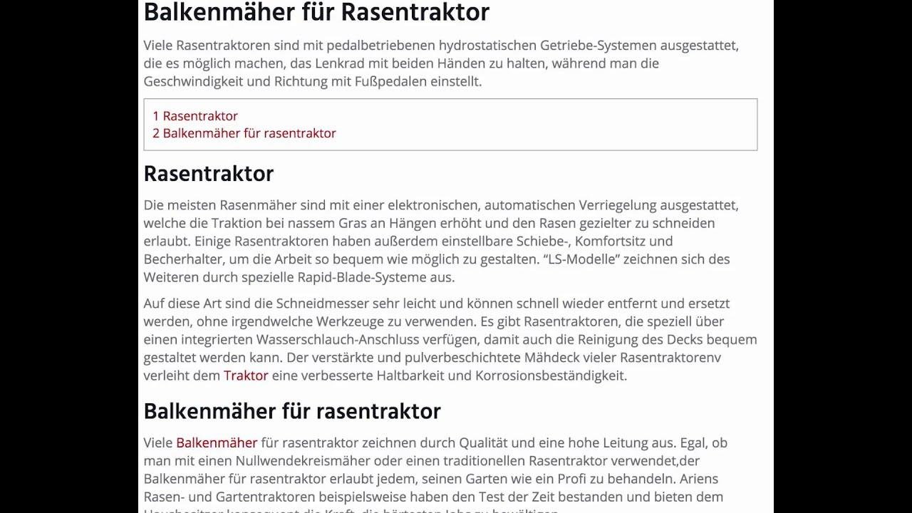 balkenmäher für rasentraktor (www.balkenmaeher) - youtube