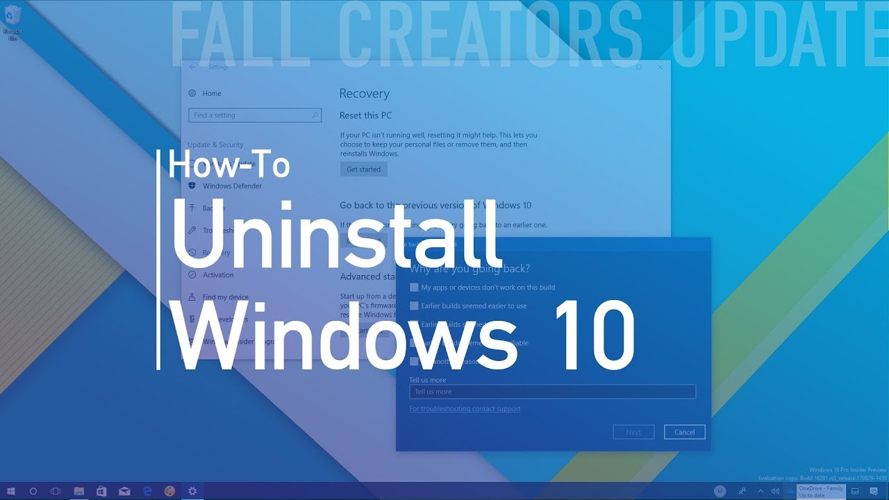 How To Uninstall The Windows 10 Fall Creators Update  Go Back To Previous Version