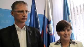 Predsednik SD dr. Igor Lukšič in predsednica NSi Ljudmila Novak po srečanju vodstev strank