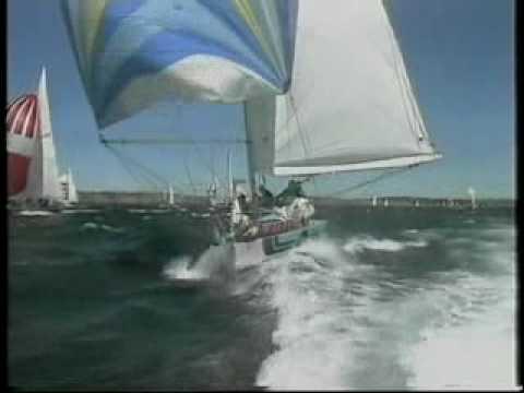Nadia1V racing in heavy winds off Sydney Heads September 1986