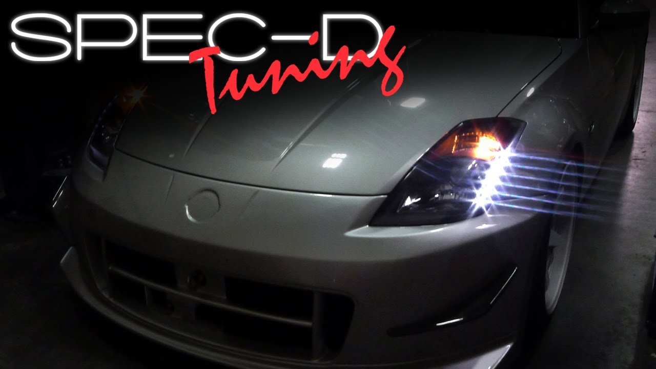 hight resolution of specdtuning installation video 2003 2005 nissan 350z led projector headlights youtube