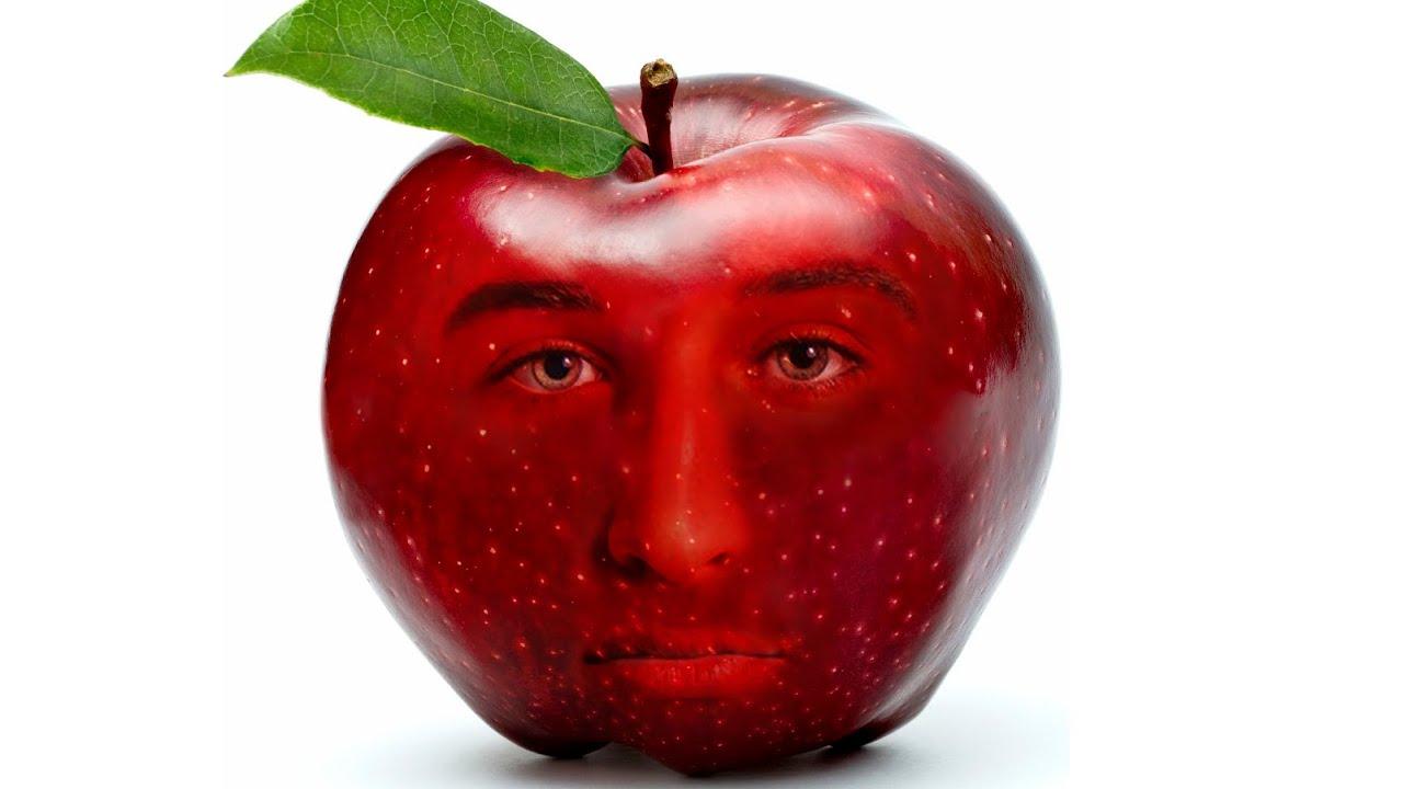 Photoshop Tutorial: Create FACE INTO Fruit Apple - YouTube