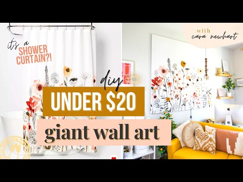 large-wall-art-diy:-make-this-shower-curtain-canvas-art-diy-for-*cheap*-[under-$20!]