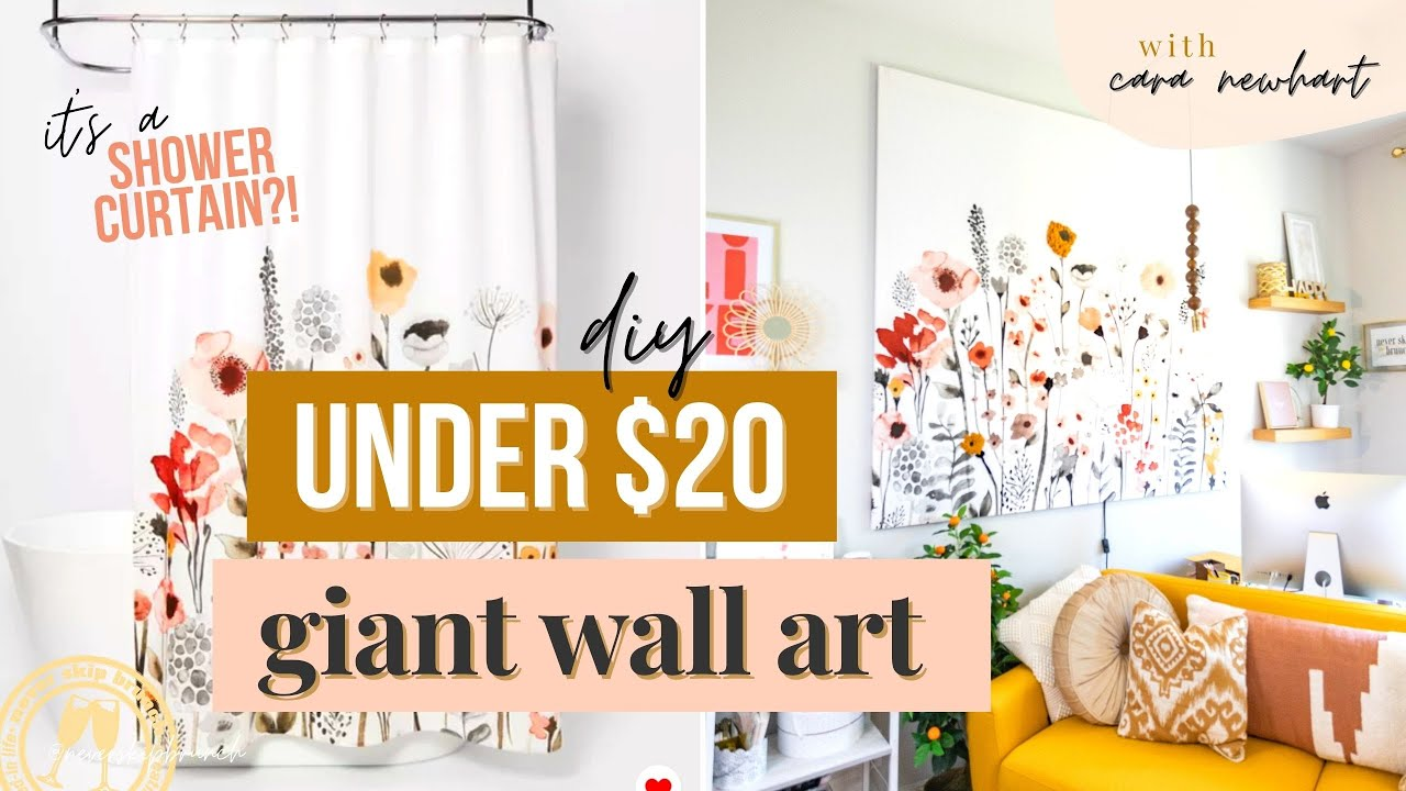 large wall art diy make this shower curtain canvas art diy for cheap under 20