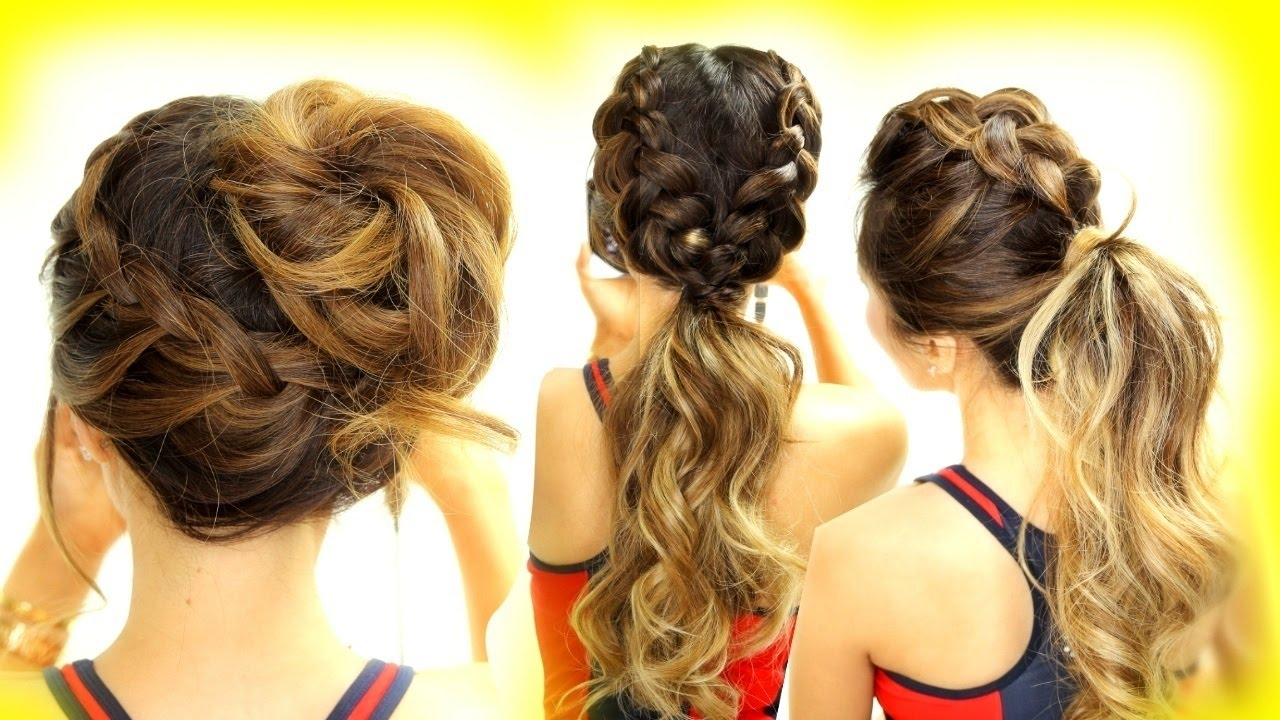 Cute Hair Styles For Medium Hair: 3 ★ Cutest WORKOUT HAIRSTYLES! BRAID SCHOOL HAIRSTYLES For