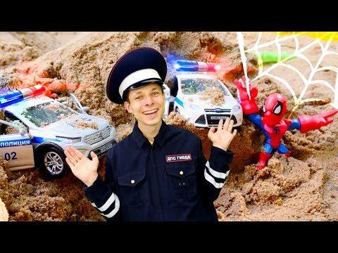 Человек Паук и Инспектор Фёдор ловят Альтрона! Игры гонки на полицейских машинках в Автомастерской.