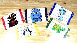 Simple puzzles for kids using popsicle sticks