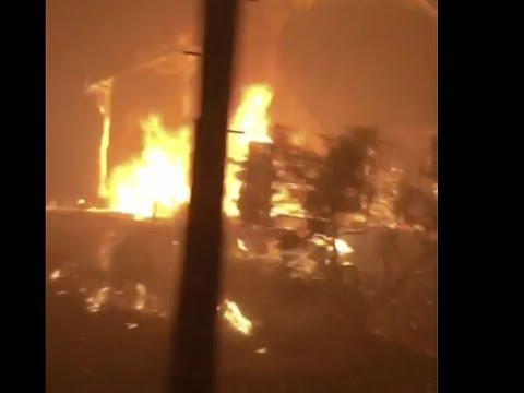 INSIDE THE FIRE:  Video aboard Petaluma Engine Company  9384  shows the inferno in Coffey Park
