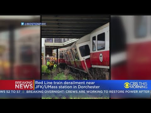 MBTA Red Line Train Derails Outside JFK-UMass Station In Dorchester