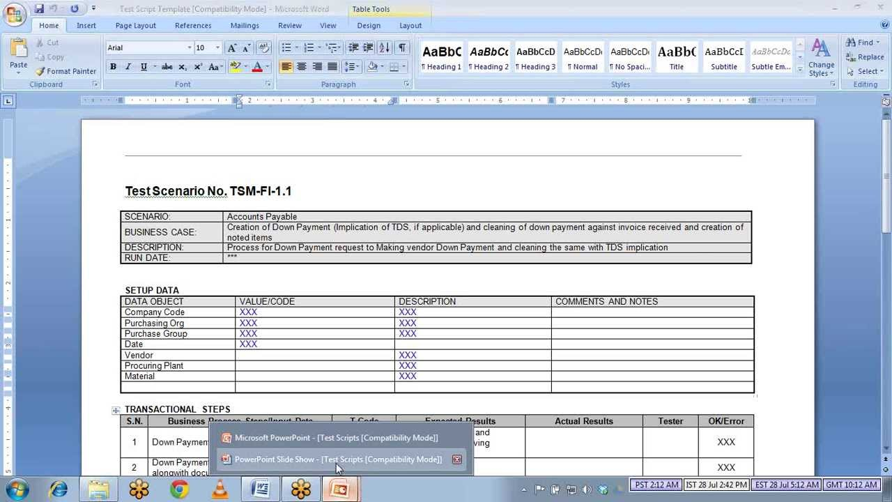 uat scenarios template - sap test script youtube