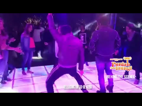 Humayun Saeed showing his moves and grooves during the shoot of the film Punjab Nahi Jaungi