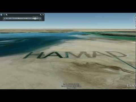 Hamad the biggest name in the desert  name in sand visible from SPACE Island Futaisi