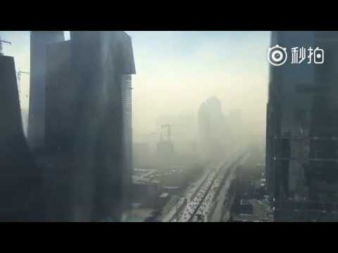 Here is what it looks like when heavy smog rolls into Beijing