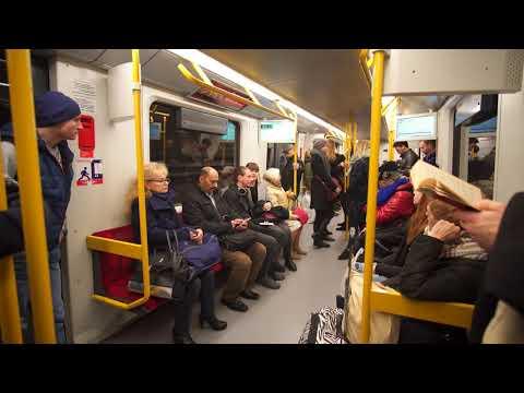 Poland, Warsaw, metro ride from Słodowiec to Marymont + walking around, 2X elevator