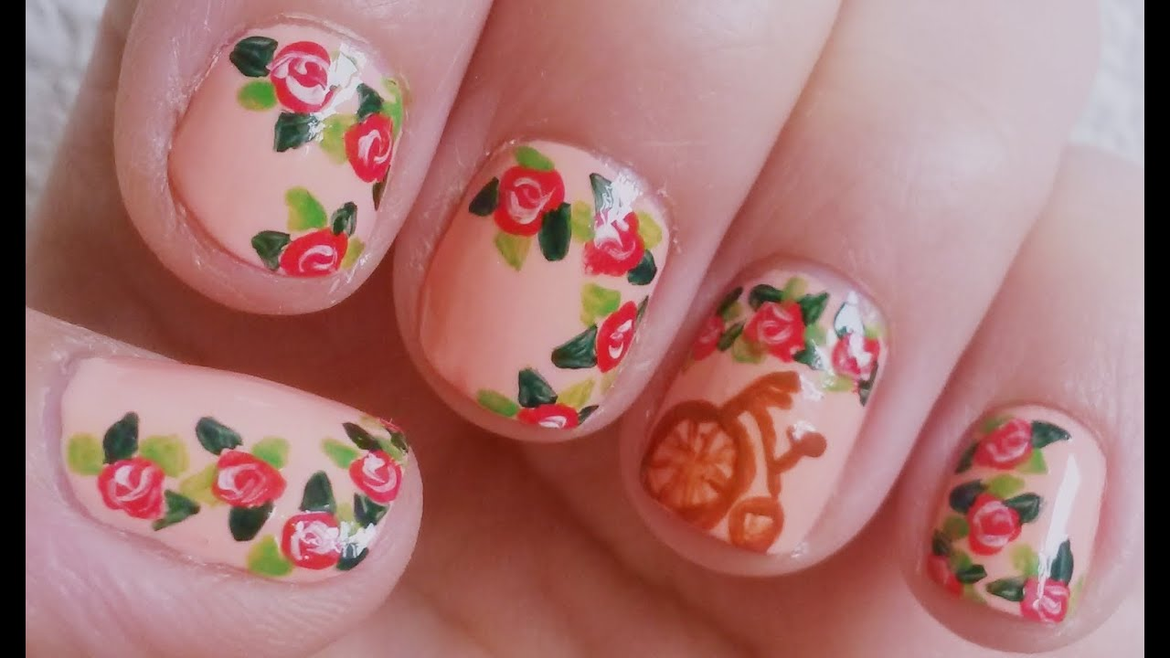 Nails | Diseño de uñas facil vintage, flores - YouTube