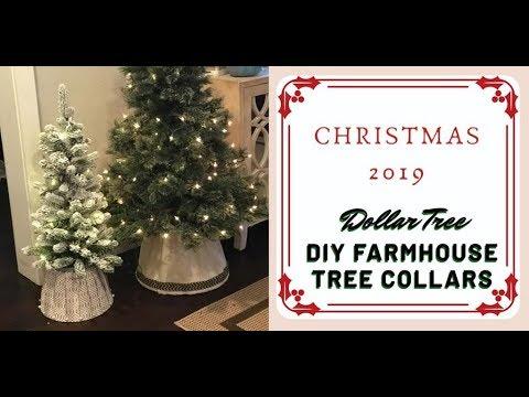 Easy DIY Dollar Tree Christmas Tree Collars - Farmhouse Glam How-to