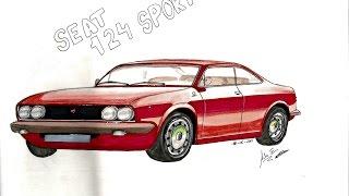 HOW TO DRAW A CAR - Como Dibujar un Coche -  Seat 124 sport