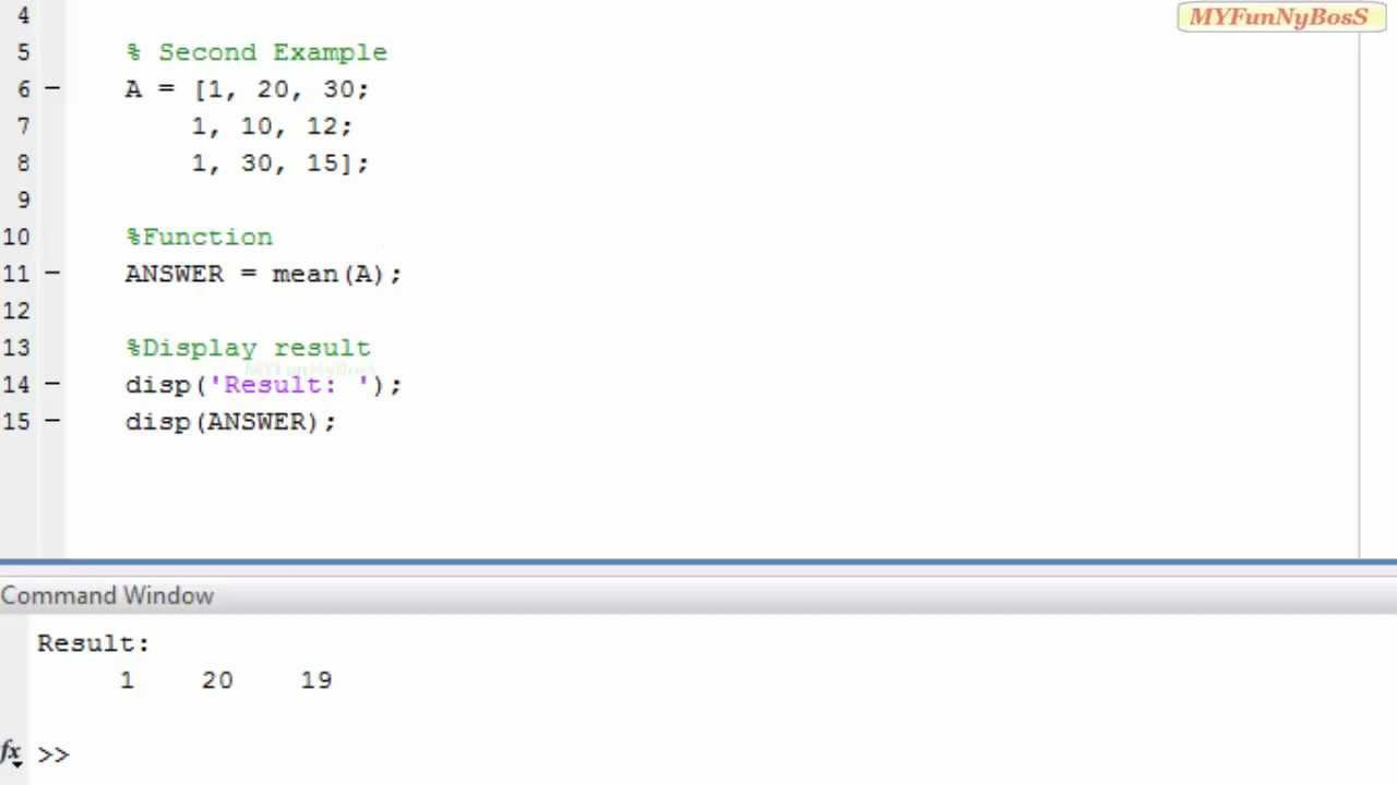 Matlab Function  Mean Valuemean( )