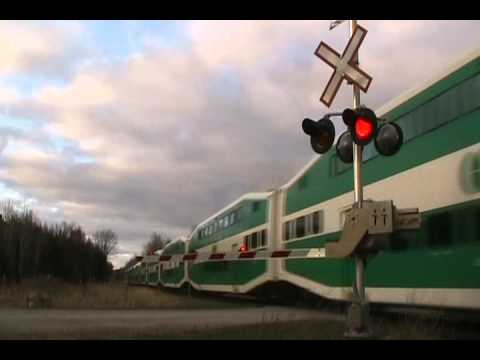 Clips of Barrie GO Trains from April 2012.