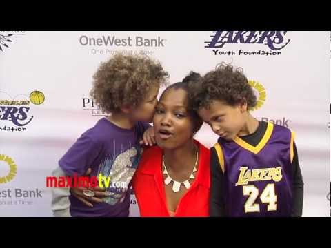 Garcelle Beauvais and Kids at 2013 LA Lakers Casino Night ARRIVALS
