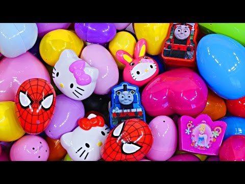 NEW 110 Surprise Eggs Opening Giant Kinder Surprise Lot Disney Princess Marvel Spiderman Hello Kitty