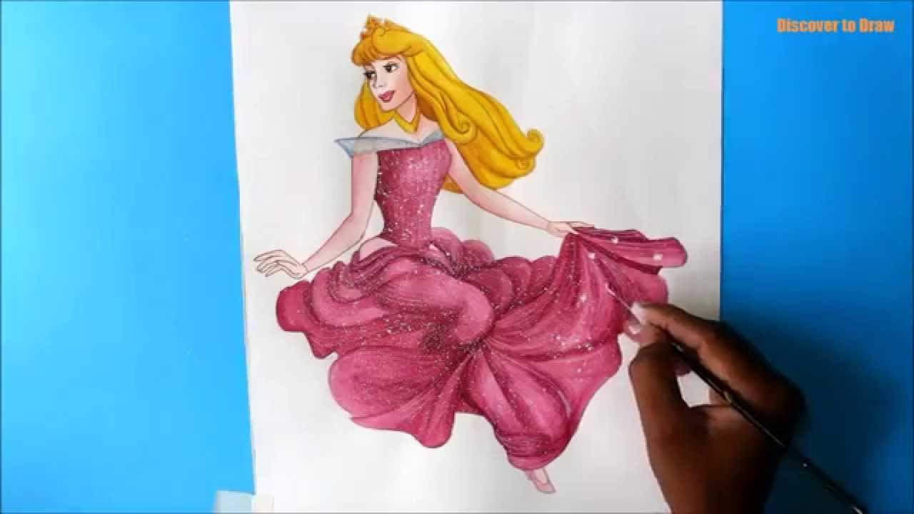 How To Draw Princess Aurora From Sleeping Beauty Youtube