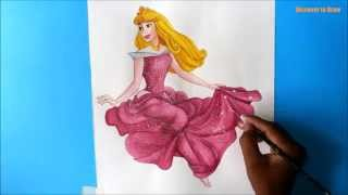 how to draw princess aurora from sleeping beauty