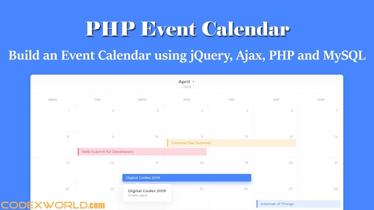 Build an Event Calendar using jQuery, Ajax, PHP and MySQL