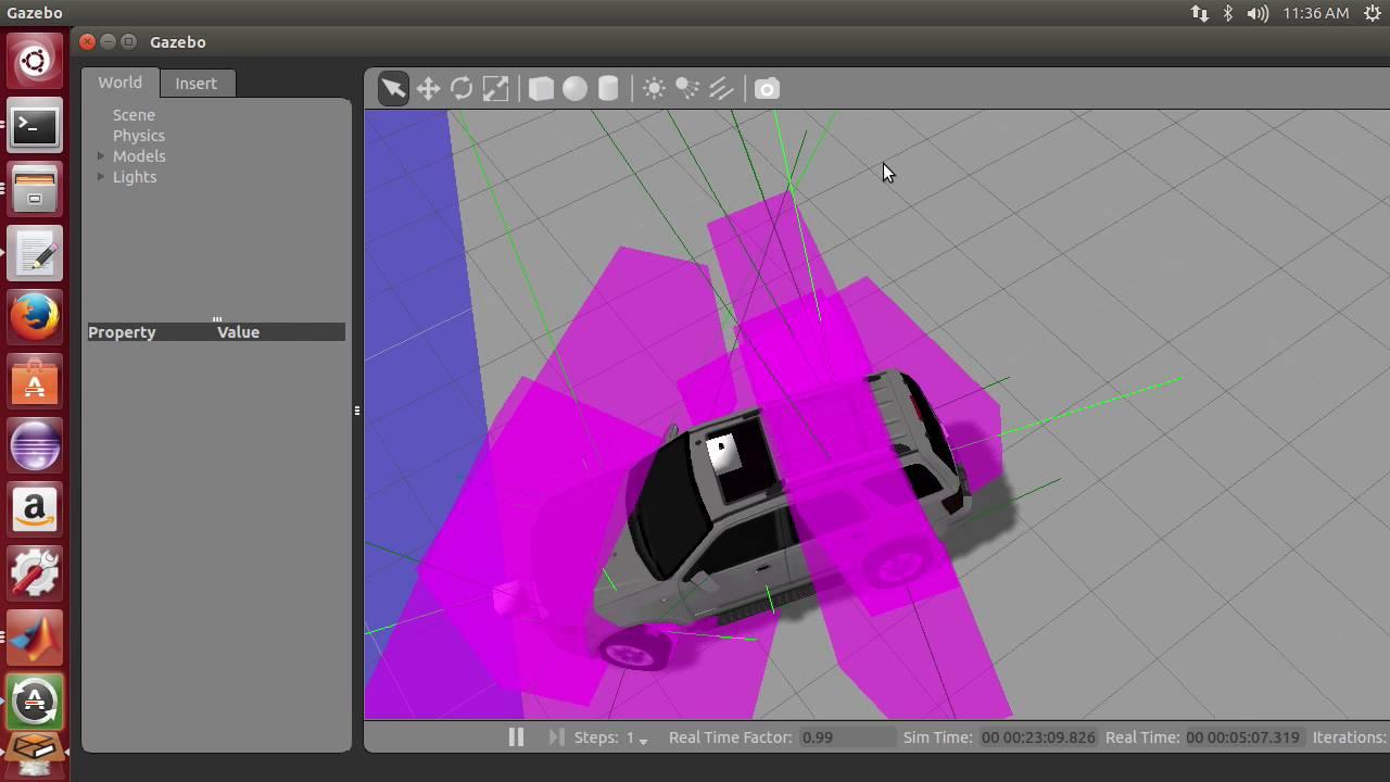 Gazebo simulation to verify Ackermann steering model