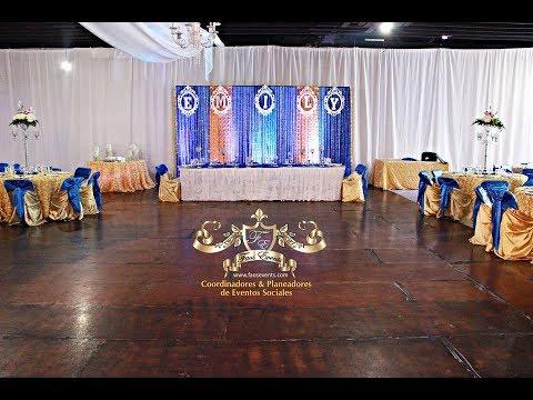 Faos events decoracion azul royal y dorado para for Decoracion de quinceanera