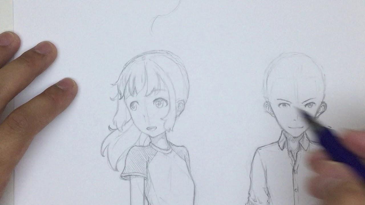 draw manga hair blowing