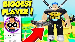 BECOMING The BIGGEST PLAYER In LIFTING SIMULATOR With INFINITE SIZE GAMEPASS! (Roblox)