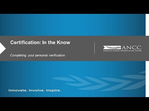ANCC Certification: Completing Your Personal Verification - YouTube