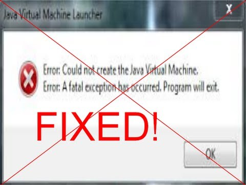 error could not create the java machine minecraft