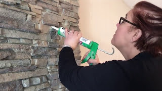 Installing Stone Veneer Over a Brick Fireplace | DIY Demo