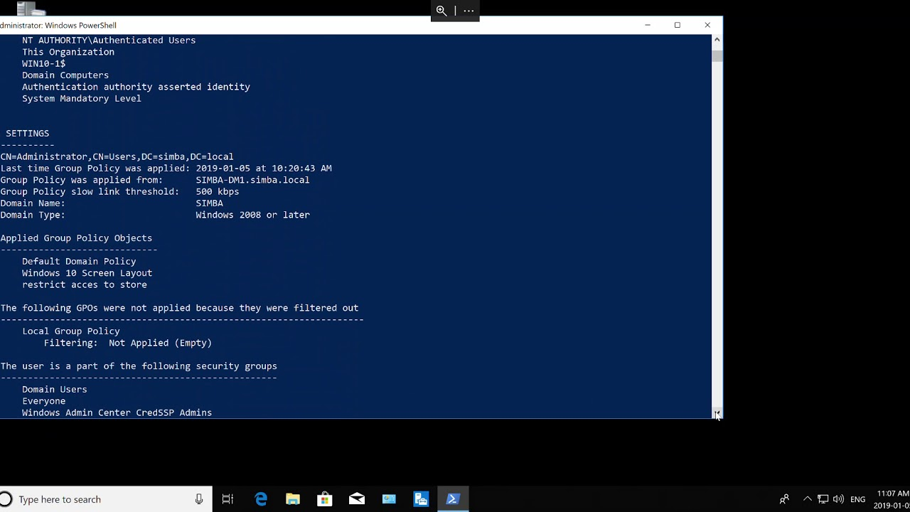 Group Policies Applied to the Client Using Command Prompt Windows 10