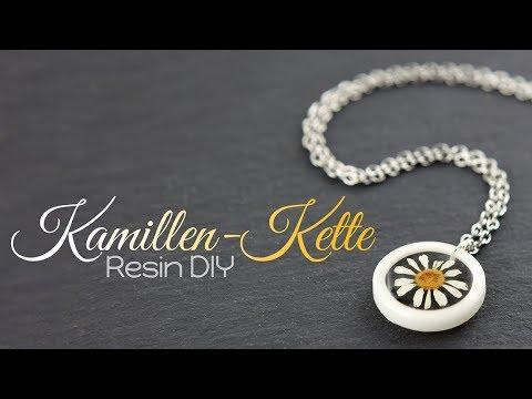 Kamillen Resin Kette | Gießharz Anleitung DIY | Schmuck Tutorial Halskette | Lünette selber machen